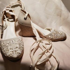 Aldo white lace up espadrilles canvas